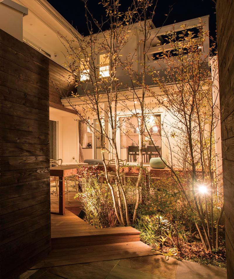 植栽のむこうに暮らしの灯り。住まいと庭が、一体となった空間。