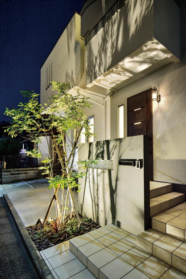 植栽の影も計算したライティングのデザイン。落ち着いたイメージに