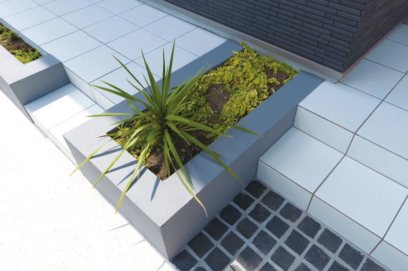 造作と植栽の組み合わせ。存在感のあるグリーンを上品にまとめる。